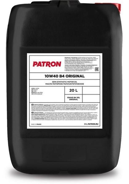 Масло моторное полусинтетическое 10W40 B4 20L ORIGINAL PATRON